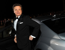 Colin Firth arrives in a Mercedes-Benz S400 Hybrid