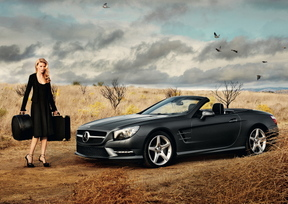 Lara Stone and the SL Roadster at Mercedes-Benz Fashion Week